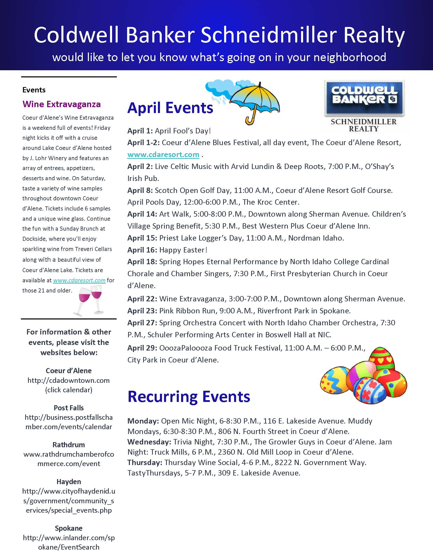 Calendar April Events : April events calendar